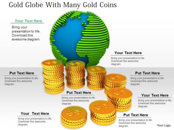 Stock Photo Increasing Stack Of Coins With Globe PowerPoint Slide