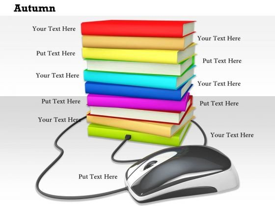 Stock Photo Internet Concept With Books And Mouse PowerPoint Slide