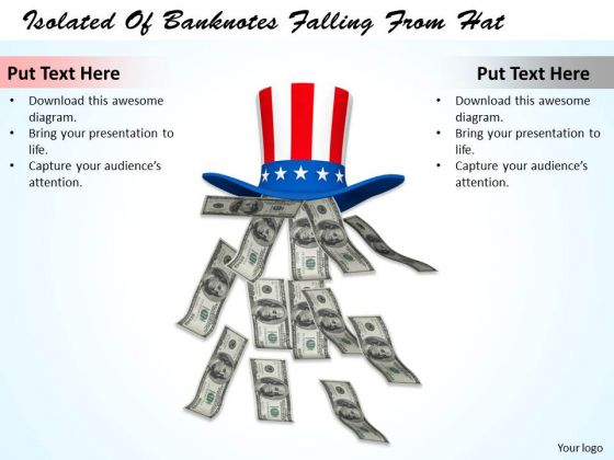 Stock Photo Isolated Of Banknotes Falling From Hat PowerPoint Template