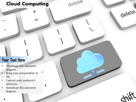 Stock Photo Key For Cloud Computing Concept PowerPoint Slide