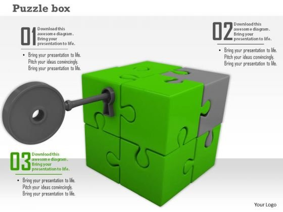 Stock Photo Key In Cube Puzzle Box PowerPoint Slide