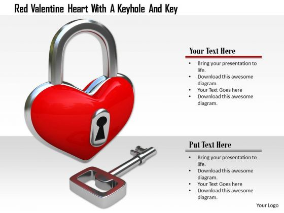 Stock Photo Key With Red Heart Shaped Lock PowerPoint Slide