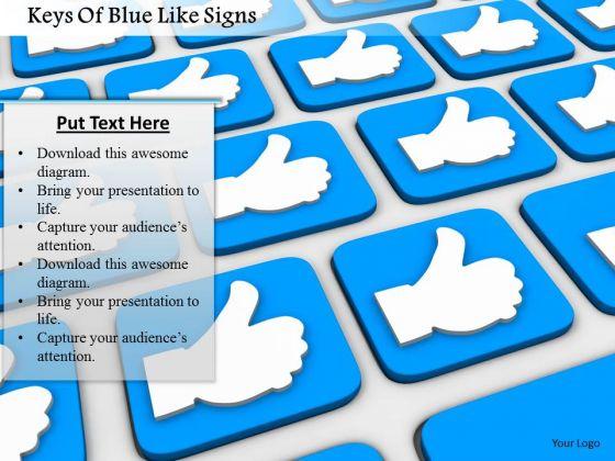 Stock Photo Keys Of Blue Like Signs PowerPoint Slide