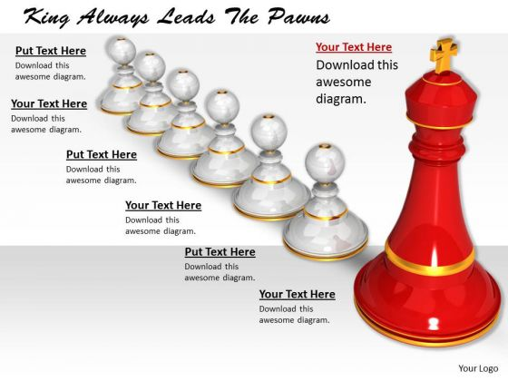 Stock Photo King Always Leads The Pawns PowerPoint Template