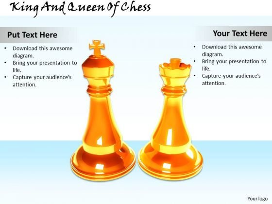 Stock Photo King And Queen Of Chess Game PowerPoint Slide