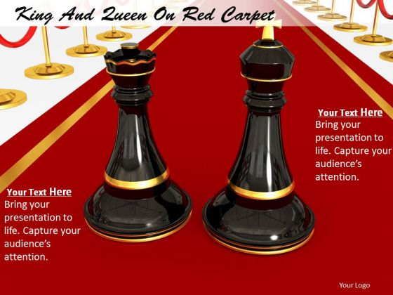 Stock Photo King And Queen On Red Carpet PowerPoint Slide