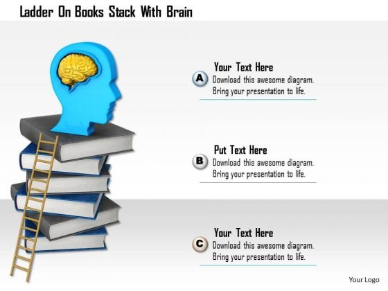 Stock Photo Ladder On Books Stack With Brain PowerPoint Slide