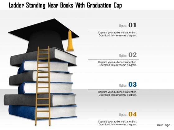 Stock Photo Ladder Standing Near Books With Graduation Cap PowerPoint Slide