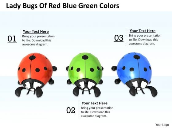 Stock Photo Lady Bugs Of Red Blue Green Colors PowerPoint Template