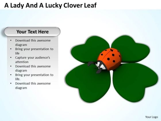 Stock Photo Ladybug On Clover Leave Good Luck On Patrick Day PowerPoint Slide