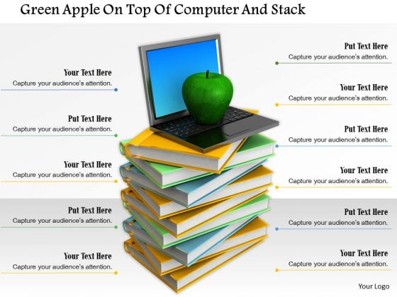 Stock Photo Laptop And Apple On Books Stack PowerPoint Slide