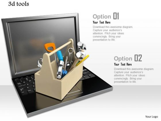 Stock Photo Laptop With Tool Box For Repair And Service PowerPoint Slide