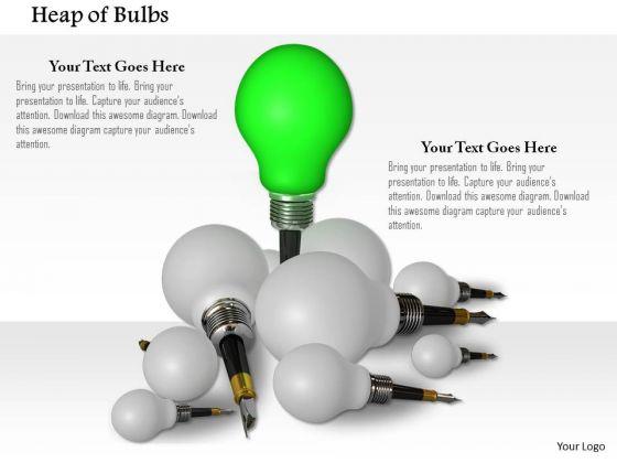 Stock Photo Leader Green Bulb In White Bulbs PowerPoint Slide
