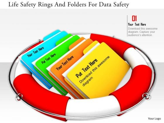 Stock Photo Life Safety Rings And Folders For Data Safety PowerPoint Slide