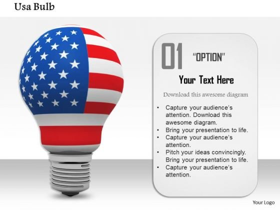 Stock Photo Light Bulb In American Flag Colors Powerpoint Slide