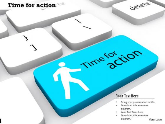 Stock Photo Man Icon With Time For Action On Key PowerPoint Slide