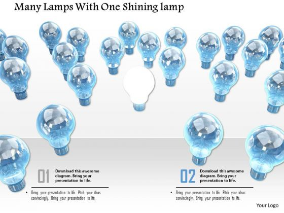 Stock Photo Many Lamps With One Shining PowerPoint Slide