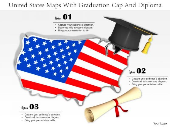 Stock Photo Map Of United States With Graduation Cap PowerPoint Slide