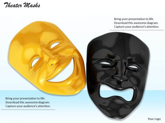 Stock Photo Masks With Happy And Sad Emotions Pwerpoint Slide