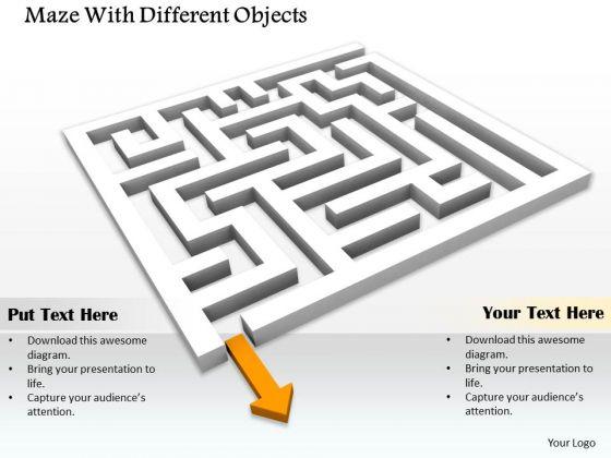 Stock Photo Maze With Arrow PowerPoint Slide