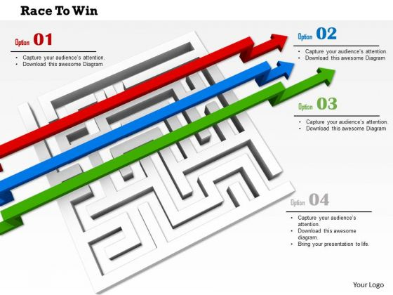 Stock Photo Maze With Arrows Jumping Over It PowerPoint Slide