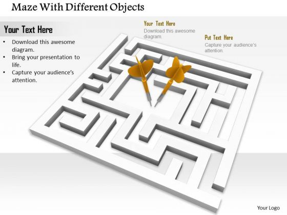 Stock Photo Maze With Arrows PowerPoint Slide