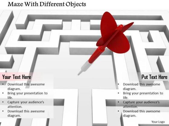 Stock Photo Maze With Dart Arrow PowerPoint Slide