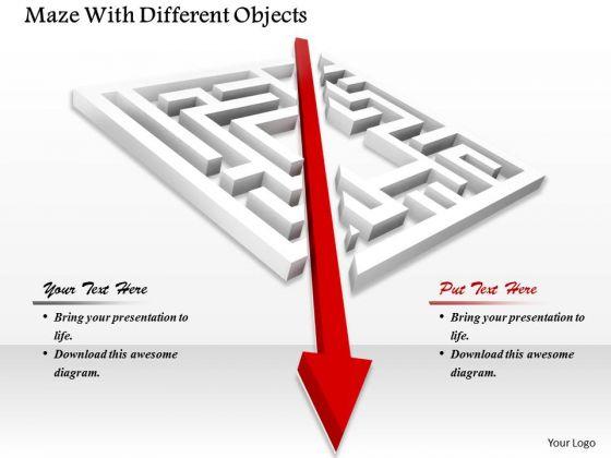 Stock Photo Maze With Diagonal Arrow PowerPoint Slide