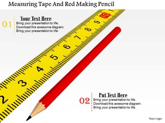 Stock Photo Measuring Tape And Red Pencil PowerPoint Slide