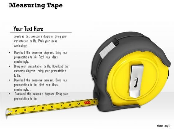 Stock Photo Measuring Tape PowerPoint Slide