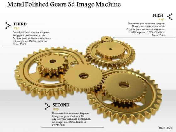Stock Photo Metal Polished Gears PowerPoint Slide