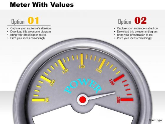 Stock Photo Meter With Values PowerPoint Slide