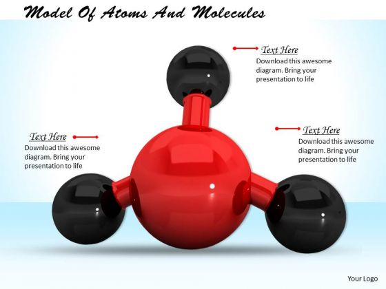 Stock Photo Model Of Atoms And Molecules PowerPoint Template