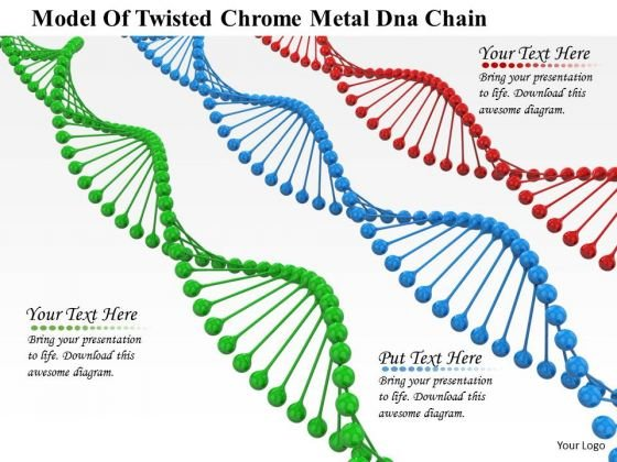 Stock Photo Model Of Twisted Dna Structures PowerPoint Slide