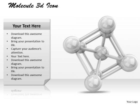 Stock Photo Molecule 3d Icon PowerPoint Slide