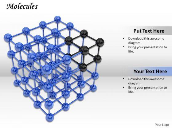 Stock Photo Molecules Cube PowerPoint Slide