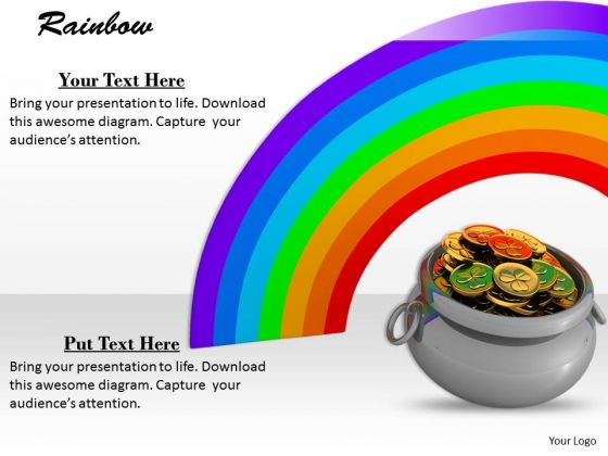 Stock Photo Money Pot With Rainbow In Background PowerPoint Slide