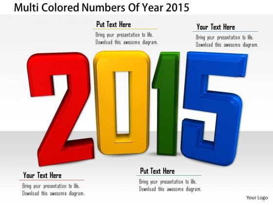 Stock Photo Multi Colored Numbers Of Year 2015 PowerPoint Slide
