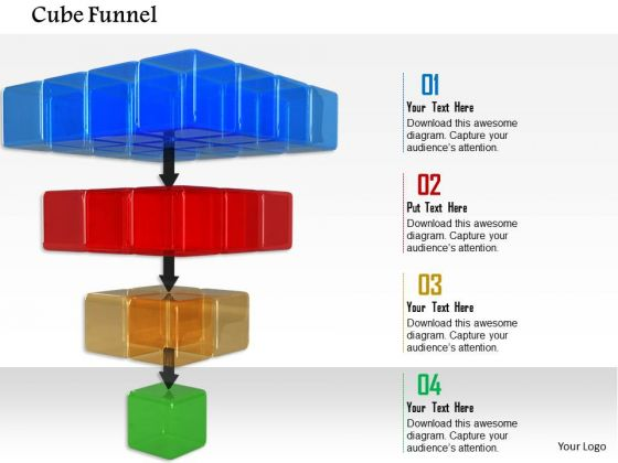 Stock Photo Multicolored Cubes In Series For Funnel Process PowerPoint Slide