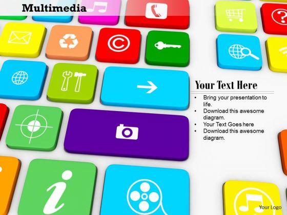 Stock Photo Multimedia Keys PowerPoint Slide
