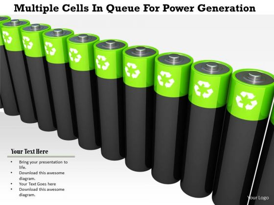 Stock Photo Multiple Cells In Queue For Power Generation PowerPoint Slide