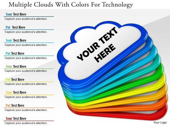 Stock Photo Multiple Clouds With Colors For Technology PowerPoint Slide