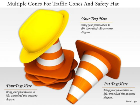 Stock Photo Multiple Cones For Traffic Cones And Safety Hat PowerPoint Slide