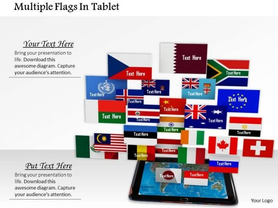 Stock Photo Multiple Flags In Tablet PowerPoint Slide