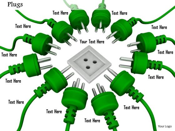 Stock Photo Multiple Green Plugs Approaching For One Socket PowerPoint Slide