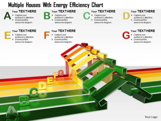 Stock Photo Multiple Houses With Energy Efficiency Chart PowerPoint Slide