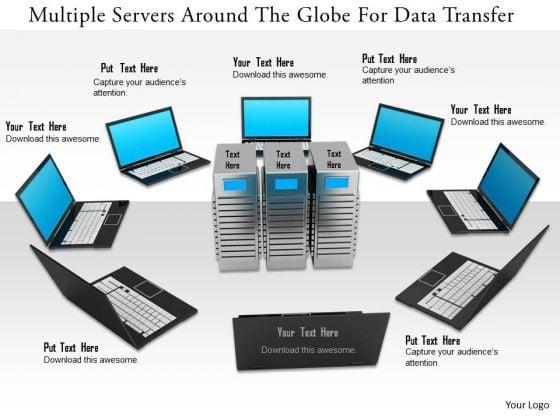 Stock Photo Multiple Servers Around The Globe For Data Transfer PowerPoint Slide