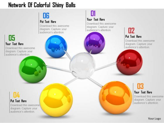 Stock Photo Network Of Colorful Shiny Balls PowerPoint Slide