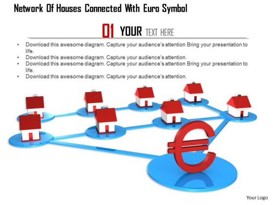 Stock Photo Network Of Houses Connected With Euro Symbol PowerPoint Slide