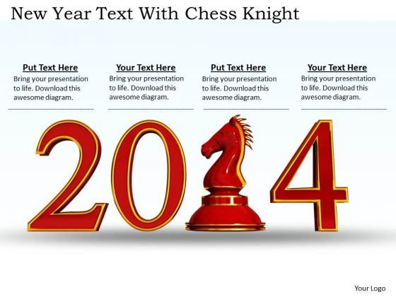 Stock Photo New Year Text With Chess Knight PowerPoint Slide